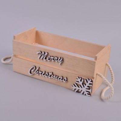 Ящик деревянный merry christmas белый