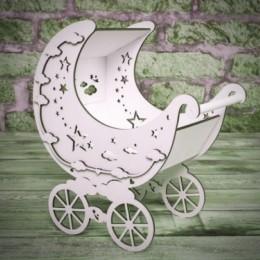 Деревянная коляска со звездами