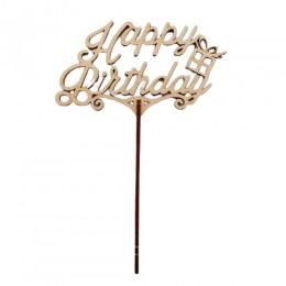 """Деревянный топпер """"Happy Birthday"""" с подарочком"""