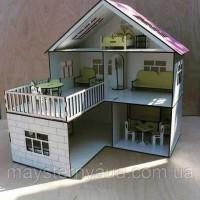 Домик для кукол деревянный с мебелью