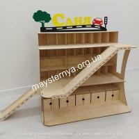 Деревянный гараж парковка для детских машинок