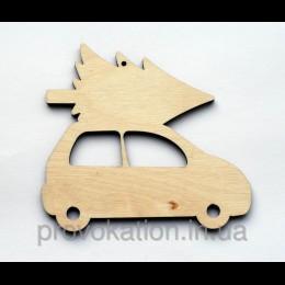 Деревянная заготовка Машина с елкой